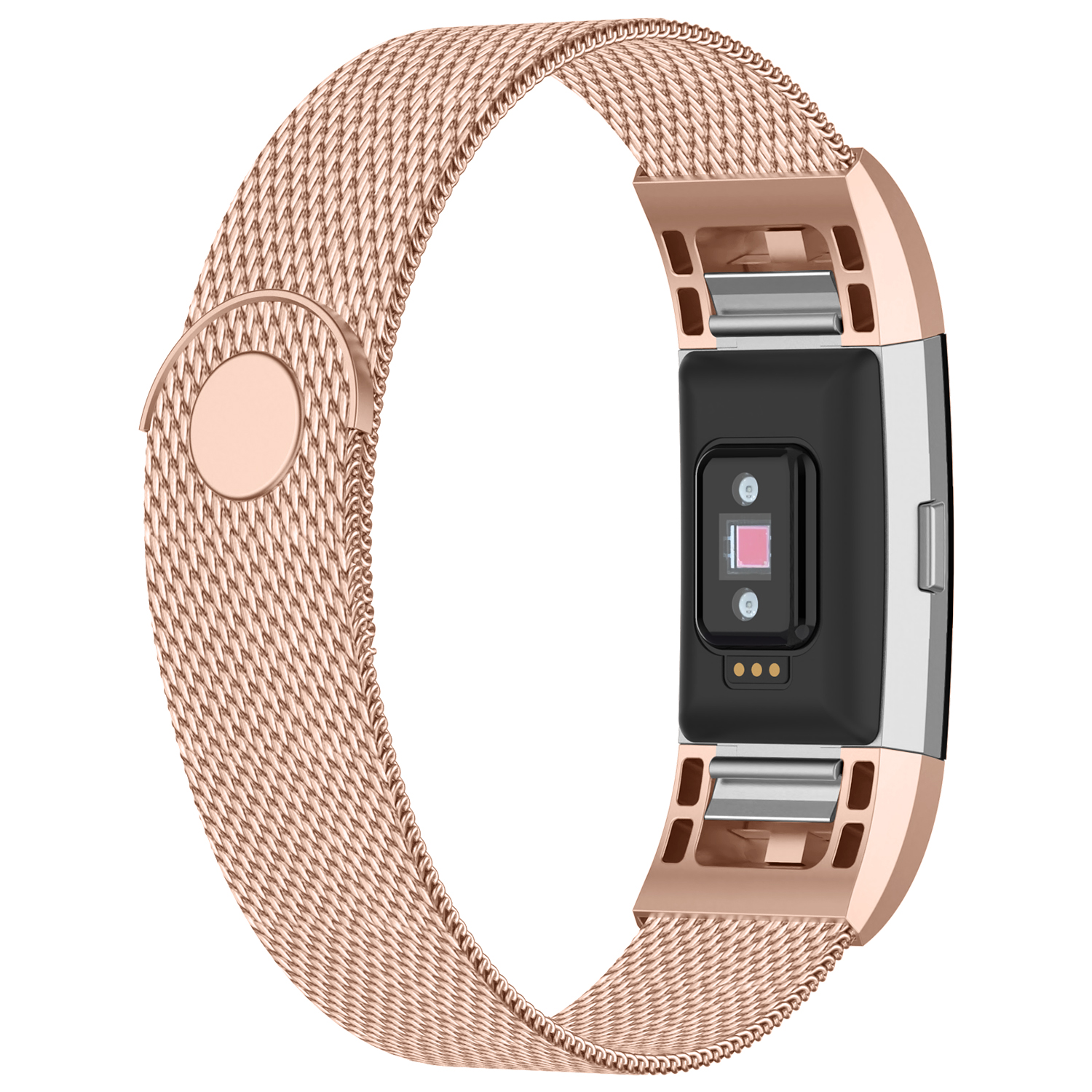 iGK Replacement Bands Compatible for Fitbit Charge 2, Stainless Steel Metal Bracelet with Unique Magnet Clasp Rose Gold Large