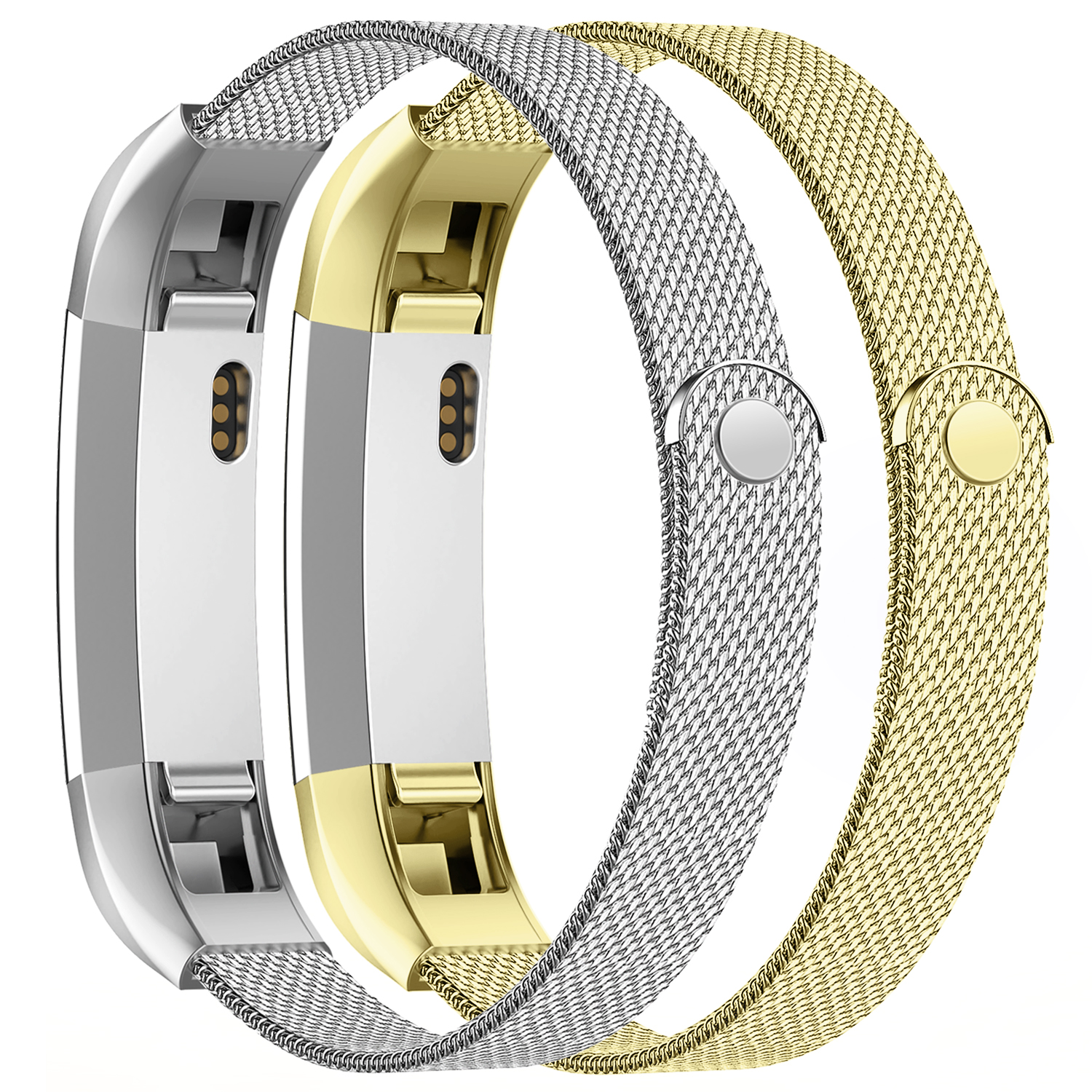iGK Replacement Compatible for Fitbit Alta Band and Fitbit Alta HR Bands, Stainless Steel Metal Bracelet Strap with Unique Magnet Clasp for Women Men Gold+Sliver 2Pack Large