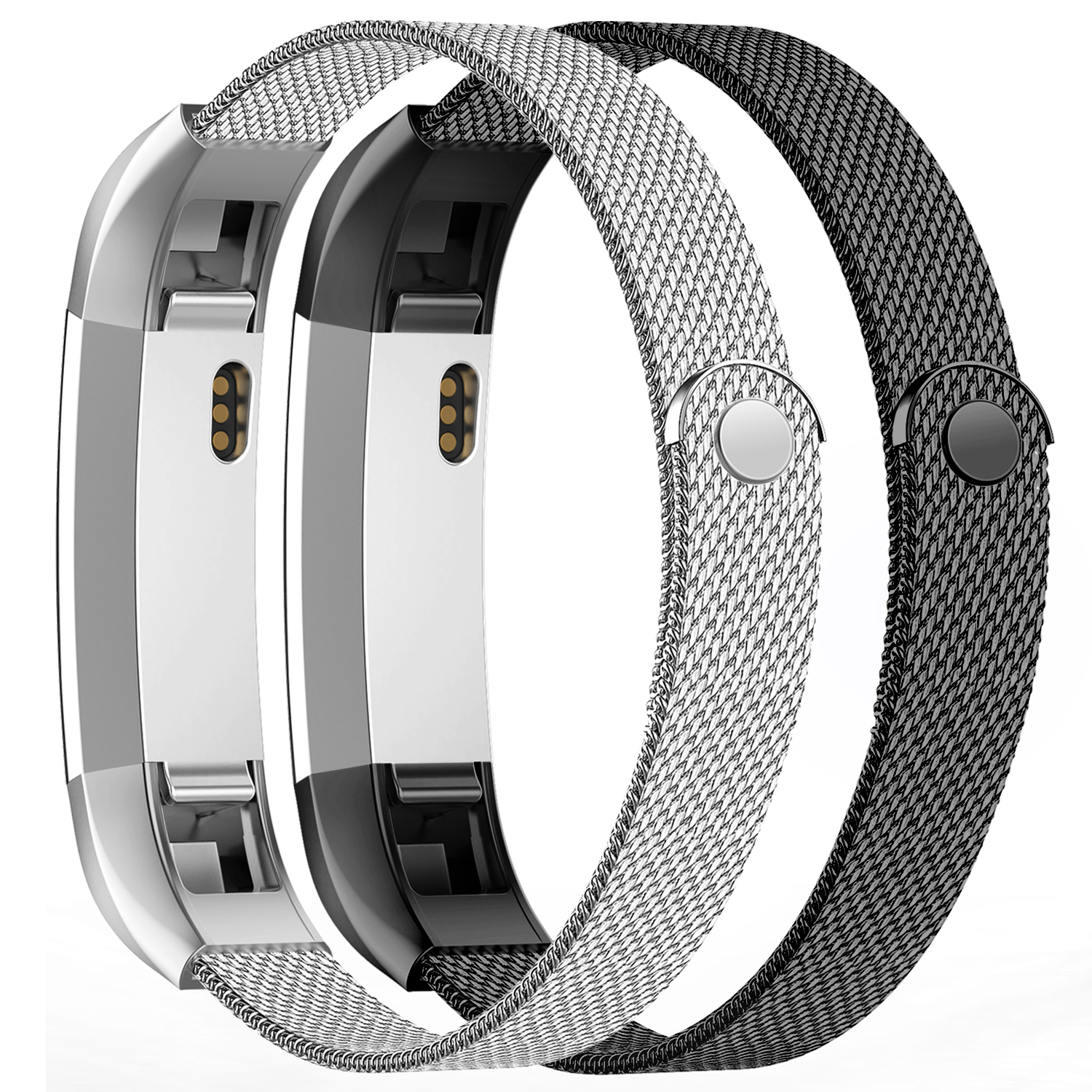 iGK Replacement Compatible for Fitbit Alta Band and Fitbit Alta HR Bands, Stainless Steel Metal Bracelet Strap with Unique Magnet Clasp for Women Men Black+Sliver 2Pack Small